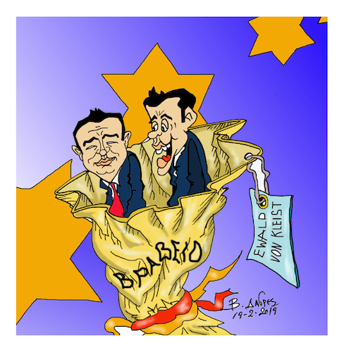 Cartoon: prize Tsipras Zaev (medium) by vasilis dagres tagged greece,skopia,tsipras,zaev,europe