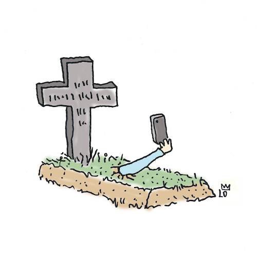 Cartoon: Selfie (medium) by Lo Graf von Blickensdorf tagged selfie,grab,tod,tot,friedhof,selfie,grab,tod,tot,friedhof