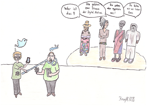 Cartoon: Digital Natives (medium) by kneissar tagged digitalisierung,social,media,twitter,facebook,digital,natives