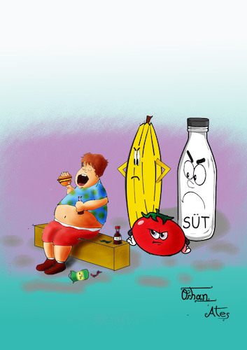 Cartoon: Angry Food (medium) by Orhan ATES tagged health,eat,human,food,angry,obesity,healthy