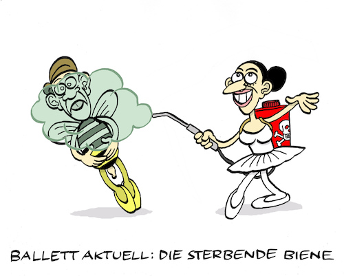 Cartoon: Bienenballett (medium) by Bregenwurst tagged bienensterben,bienen,insekten,pestizide,ballett,giftspritze