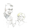Cartoon: shake hands (small) by herranderl tagged orban,frau,dr,merkel,eu,ungarn