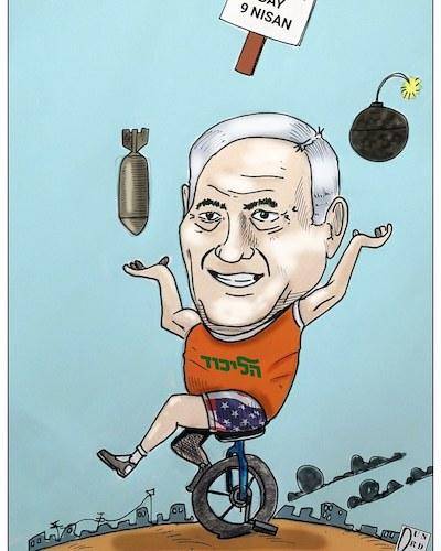 Cartoon: Elecion day 9 nisan (medium) by Christi tagged netanyahu,trump,gaza