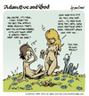 Cartoon: adam eve and god 18 (small) by mortimer tagged mortimer mortimeriadas cartoon comic gag adam eve god bible paradise eden biblical christian original sin sex nude toons hairy belly blonde snake apple