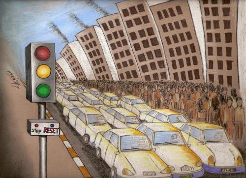 Cartoon: Reset (medium) by menekse cam tagged city,traffic,crowded,complexity,reset