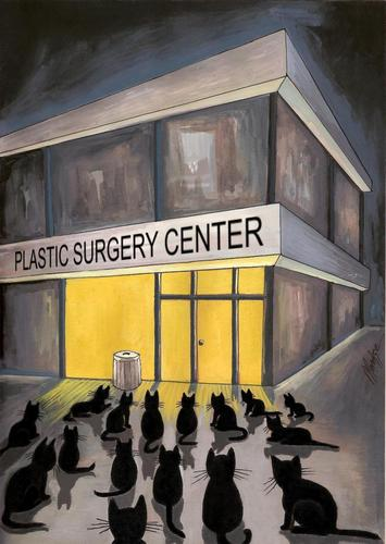 Cartoon: waiting for... (medium) by menekse cam tagged dinner,waiting,cats,center,surgery,plastic
