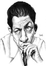 Cartoon: Albert Camus (small) by menekse cam tagged albert,camus,algerian,french,author,journalist,philosopher,nobel,prize