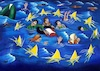 Cartoon: Hello Europe (small) by menekse cam tagged europe,syrian,refugees,sea,boat,stars,eu,avrupa,birligi,ab,multeciler