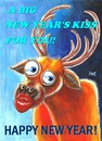 Cartoon: New years kiss (small) by menekse cam tagged happy new year midnight kiss deer christmas postcard greetings card
