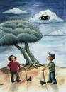 Cartoon: The apple of eye of God (small) by menekse cam tagged olive,tree,oil,god,eye,cutting,axe