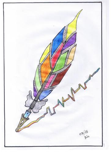 Cartoon: The Thriller colours and script (medium) by skätch-up tagged ballpen,pencil,pen,feather,future,present,history,painting,lovestories,poetry,thriller