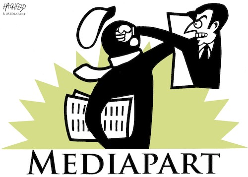 Cartoon: Macron versus Mediapart (medium) by Hachfeld tagged france,macron,mediapart,bennalla,affair,edwy,plenel
