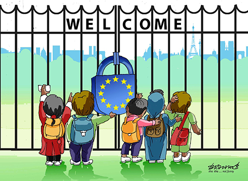 Cartoon: Welcome not welcome (medium) by Vladimir Khakhanov tagged emigrants,welcome