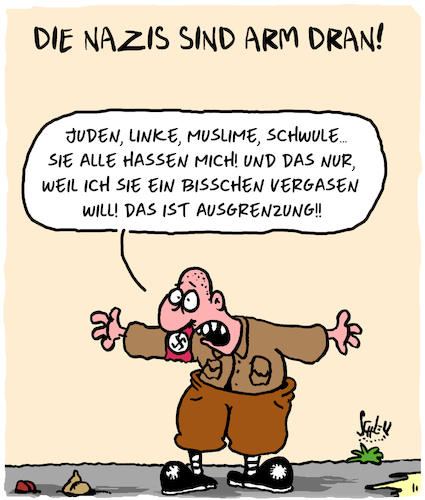 Cartoon: Arm dran (medium) by Karsten tagged extremismus,neonazis,geschichte,religion,hass,politik,ausgrenzung,gesellschaft,extremismus,neonazis,geschichte,religion,hass,politik,ausgrenzung,gesellschaft