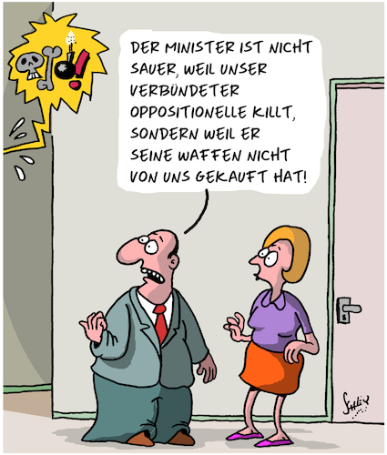 Cartoon: Armer Minister (medium) by Karsten tagged rüstung,rüstungsexporte,demokratie,business,kapitalismus,politik,opposition,militär,industrie,waffen,rüstung,rüstungsexporte,demokratie,business,kapitalismus,politik,opposition,militär,industrie,waffen