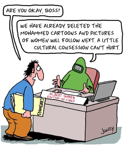 Cartoon: Cultural Consessions (medium) by Karsten tagged press,media,art,editors,caricatures,freedom,of,expression,politics,religion,democracy,society,press,media,art,editors,caricatures,freedom,of,expression,politics,religion,democracy,society