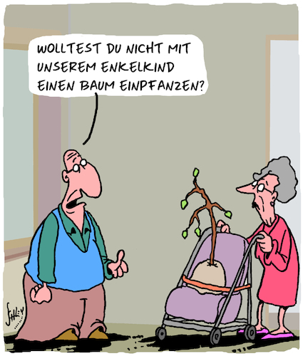 Cartoon: Enkel (medium) by Karsten tagged alter,familie,enkelkinder,bäume,beziehungen,soziales,gesellschaft,alter,familie,enkelkinder,bäume,beziehungen,soziales,gesellschaft