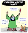 Cartoon: Ensemble contre Covid! (small) by Karsten Schley tagged masques,pandemies,mort,distance,societe,religion