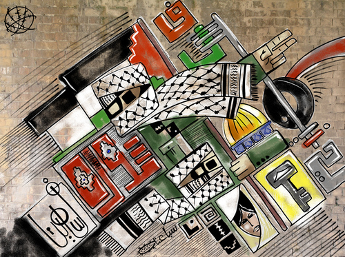 Cartoon: Grafti Palestinian (medium) by sabaaneh tagged palestine