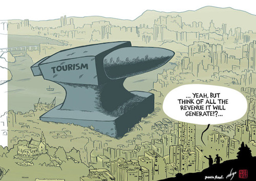 Cartoon: Crushing tourism (medium) by rodrigo tagged tourism,travel,economy,environment,pollution,population,society,people,money