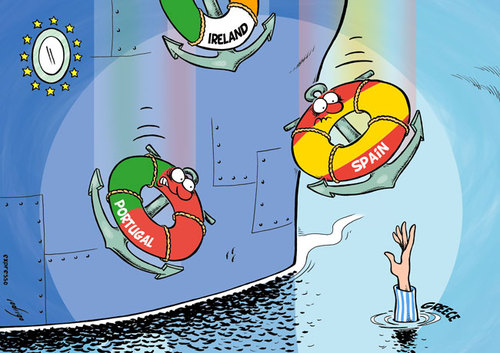 Cartoon: Drowning Greece (medium) by rodrigo tagged greece,financial,crisis,economy,europe,eu,european,union,greek,german,germany,bailout,euro,inflation,recession,portugal,spain,ireland