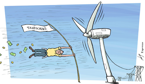 Cartoon: Energy cleaning (medium) by rodrigo tagged energy,solar,sun,wind,green,tax,subsidy,clean,ecology,earth,pollution,environment,sustainable,renewable,global,warming