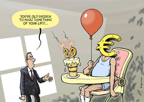 Cartoon: Euro grows old (medium) by rodrigo tagged euro,european,union,eu,europe,currency,anniversary,birthday