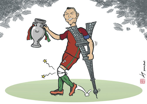 Cartoon: Euronaldo (medium) by rodrigo tagged portugal,cristiano,ronaldo,euro,2016,france,eiffel,tower,football,soccer,sport