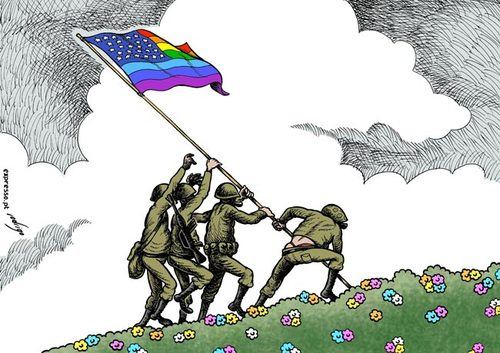 Cartoon: Gays in the US Army (medium) by rodrigo tagged gay,lesbian,homosexual,us,army,usa,air,force,navy,military