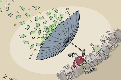 Cartoon: Income distribution (medium) by rodrigo tagged income,distribution,rich,poor,gdp,social,middle,class,capitalism