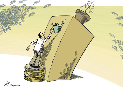 Cartoon: Low Wages (medium) by rodrigo tagged wages,work,workers,employees,salary,consumption,economy,deflation