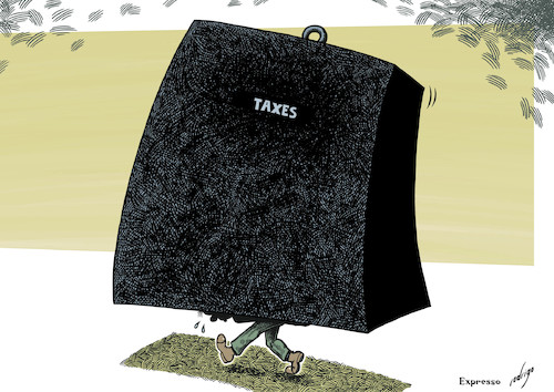 Cartoon: Overwhelming taxes (medium) by rodrigo tagged taxes,tax,taxpayer,contribution,pension,job,salary,pay,work,social,security,economy,finance