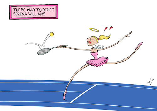 Cartoon: Political Correctennis (medium) by rodrigo tagged serena,williams,usa,usopen,tennis,sport,race,gender,political,correctness