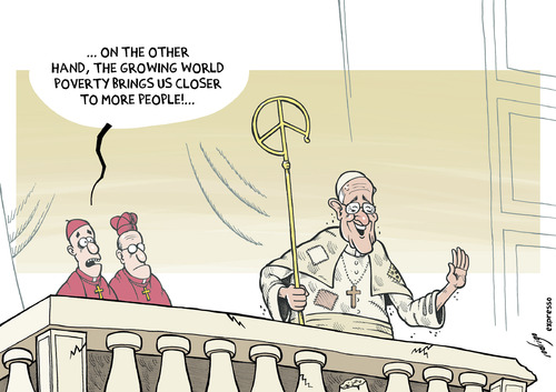 Cartoon: Pope Francis the poor (medium) by rodrigo tagged pope,francis,vatican,catholic,church,religion,poor,poverty