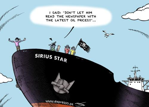 Cartoon: Titanic sinking of oil piracy (medium) by rodrigo tagged oil,price,fuel,export,economy,pirate,piracy,somalia,sirius,star