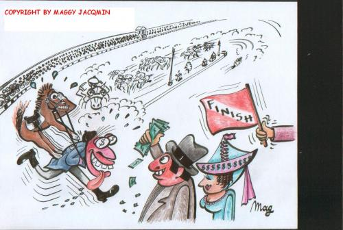Cartoon: Gambling (medium) by Mag tagged horses,culture,media,sports