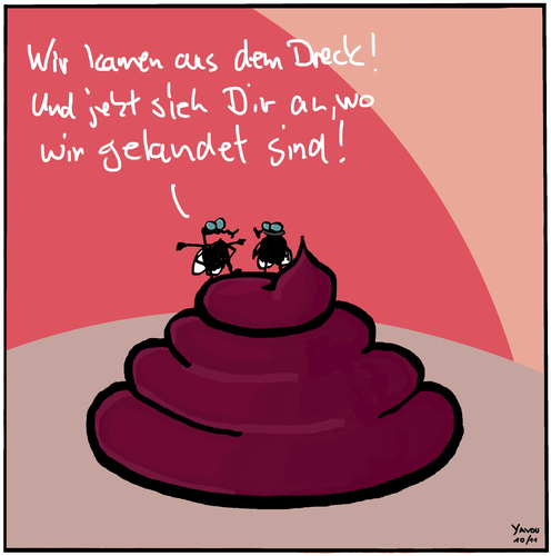 Cartoon: Dreck (medium) by Yavou tagged dreck,fliegen,instekten,exkrement,natur,kot