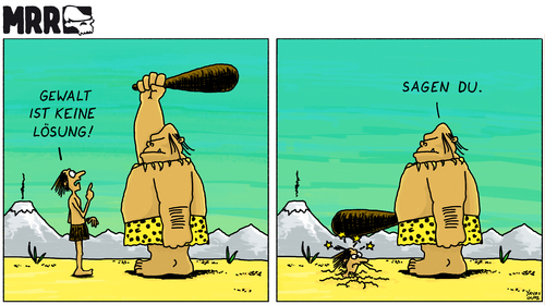 Cartoon: MRR 1 (medium) by Yavou tagged comicstrip,solution,no,keine,violence,stoneage,prähistorisch,prehistoric,magnon,cro,neandertaler,steinzeit,keule,cavemen,höhlenmensch,lösung,yavou,cartoon,cavemen,höhlenmensch,prehistoric,steinzeit,neandertaler,gewalt