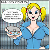 Cartoon: TIPP DES MONATS! (small) by Yavou tagged thuna tuna thunfisch blonde sexy manga girl delfin delphin fisch seafood dophin extinction aussterben woman frau can dosen verstrahlung yavou cartoon