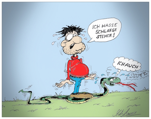 Cartoon: Schlange stehen (medium) by Mittitom tagged schlange,stehen,tier,hassen,natur
