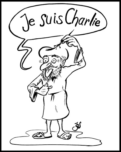 Cartoon: Je suis Charlie (medium) by KritzelJo tagged charlie,suis,je