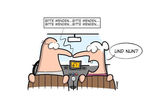 Cartoon: Wende (medium) by klaartoons tagged navigation,ehepaar,mann,frau,weg,beziehung
