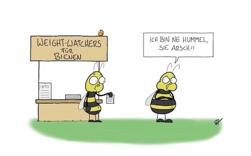 Cartoon: Weight Watchers für Bienen (medium) by SteffenHuberCartoons tagged weightwatchers,weight,watchers,abnehmen,diät,biene,bienen,hummel,insekten,essen,dick,weightwatchers,weight,watchers,abnehmen,diät,biene,bienen,hummel,insekten,essen,dick