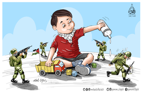 Cartoon: Palestinian 3 year old boy (medium) by Mikail Ciftci tagged palestine,israel,jarussalem,mikailciftci,catoon,politican