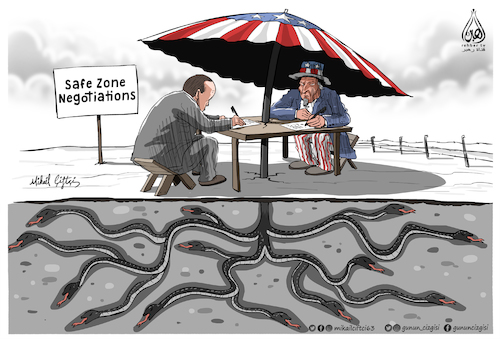 Cartoon: Safe Zone Negotiations (medium) by Mikail Ciftci tagged safe,zone,negotiations,turkey,syria,usa