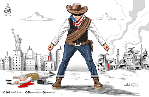 Cartoon: US Barbarianism is everywhere .. (medium) by Mikail Ciftci tagged us,muslim,islam,cartoon,politican,mikail