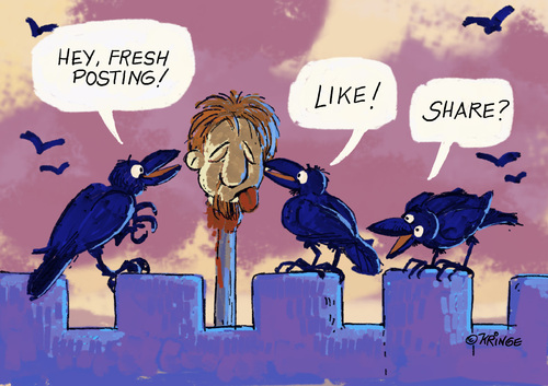 Cartoon: Early Facebook (medium) by Kringe tagged raven,beheaded,head,post,posting,facebook