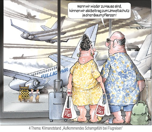 Cartoon: Flugreisen (medium) by Ritter-Karikaturen tagged klimawandel