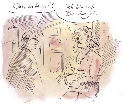 Cartoon: Aufschlag (medium) by Bernd Zeller tagged bio,prostitution,strich,preise