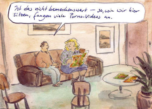 Cartoon: Bekannte Situation (medium) by Bernd Zeller tagged porno,video,bemerkenswert